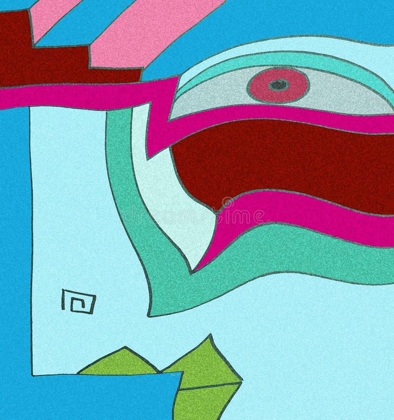 Sguardo femminile espressivo con i dettagli geometrici illustrazione di stock