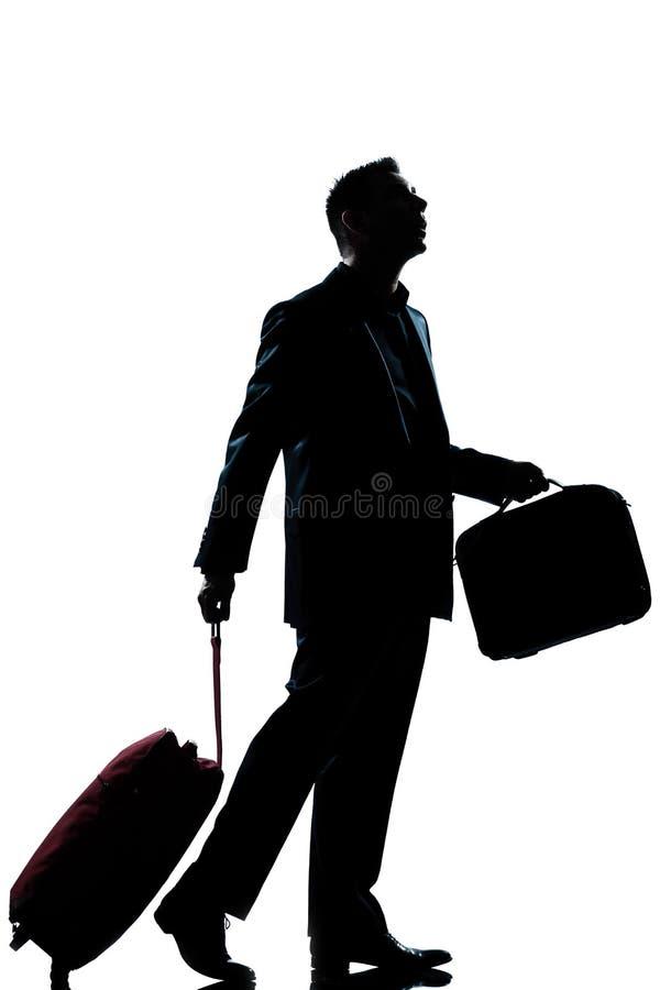 Sguardo perso uomo del viaggiatore di affari in su fotografia stock