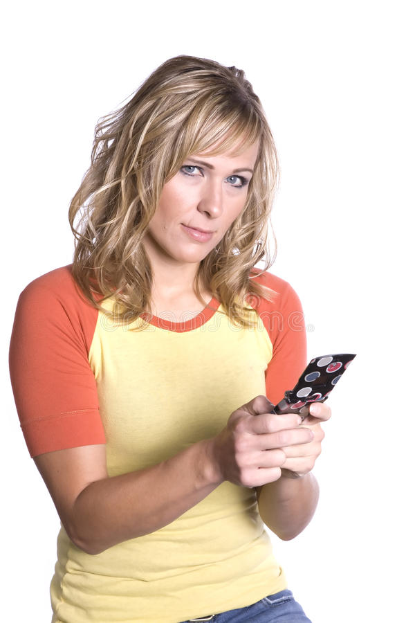 Sguardo texting della donna immagine stock