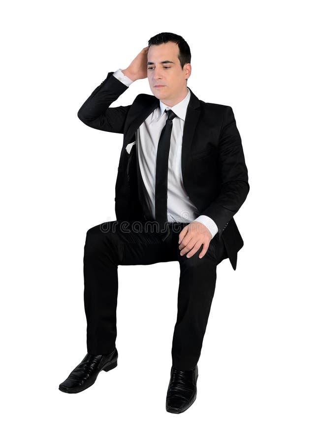 Sguardo triste dell'uomo di affari giù fotografia stock