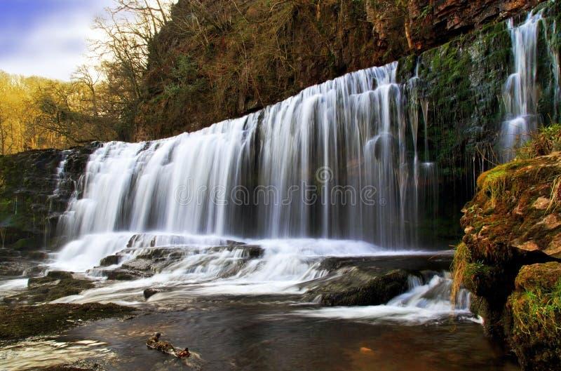 Sgwd Isaf Clun Gwyn Waterfall River Afon Mellte foto de archivo libre de regalías