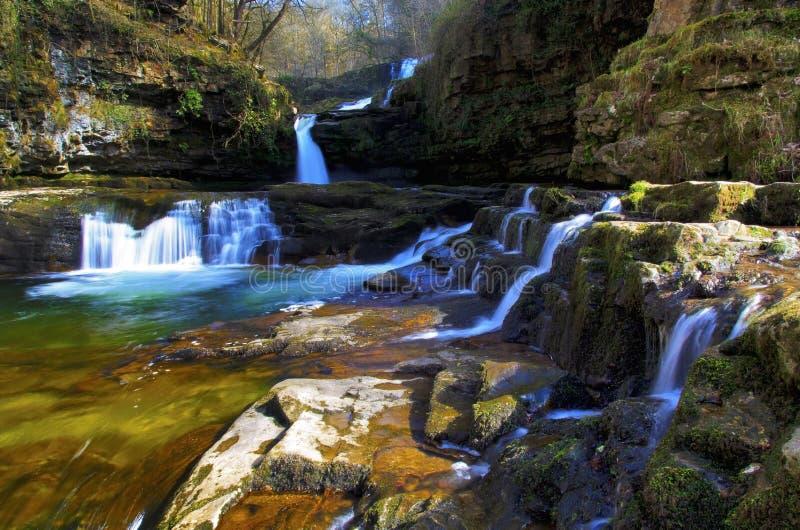 Sgwd Isaf Clun Gwyn Waterfall River Afon Mellte imagenes de archivo