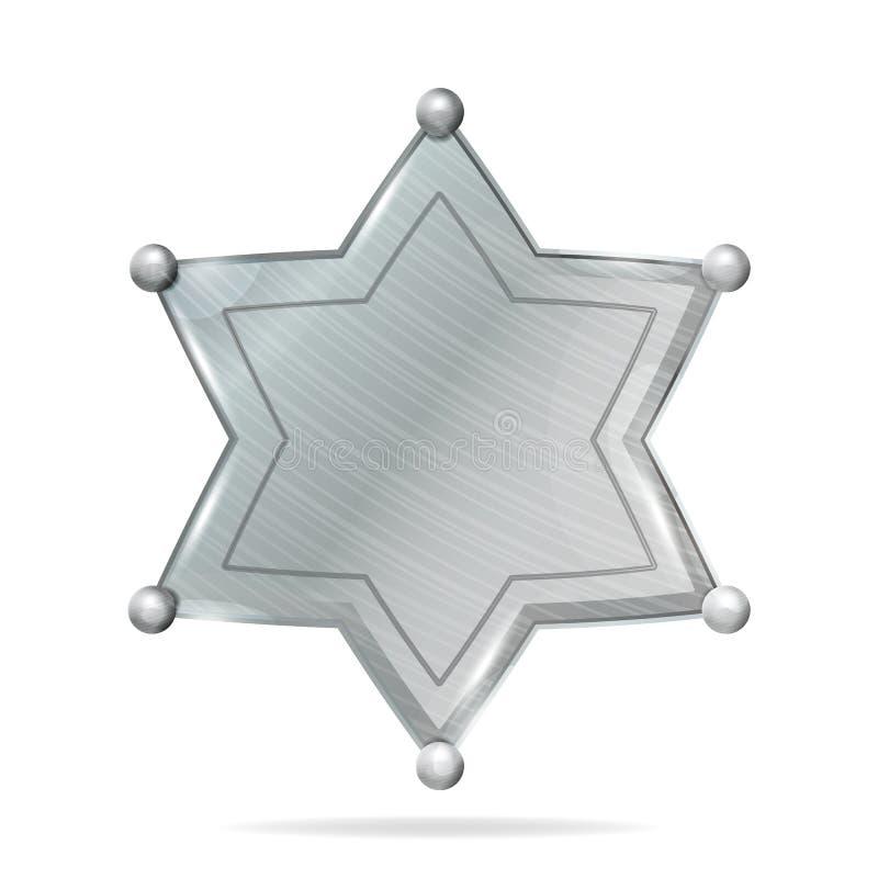 Shérif Badge Star Vector Blanc réaliste de shérif Badge Star en métal Blanc vide avec l'ombre illustration de vecteur