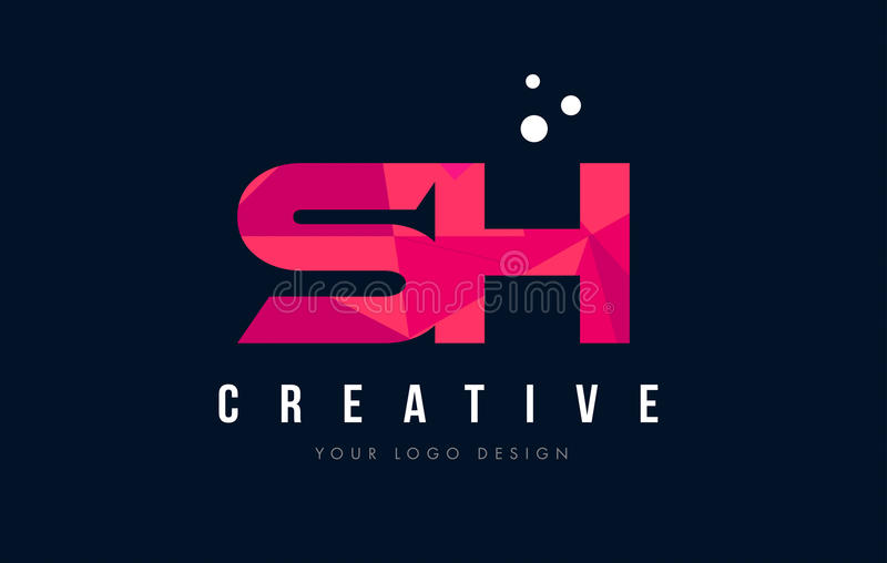 SH λογότυπο επιστολών του S Χ με την πορφυρή χαμηλή πολυ ρόδινη έννοια τριγώνων ελεύθερη απεικόνιση δικαιώματος