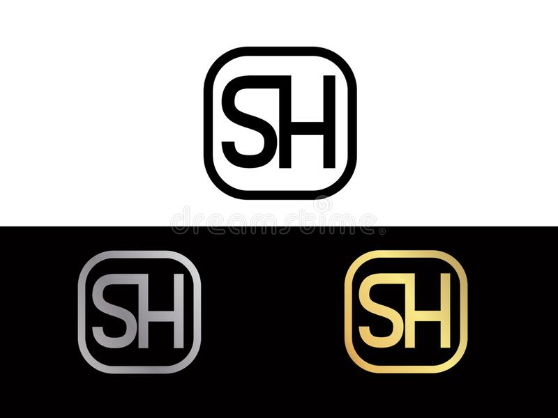 SH Initial box shape Gold color later Logo Design royalty free illustration