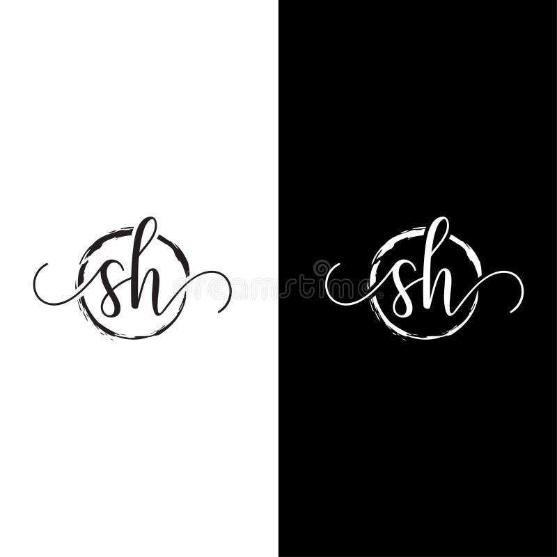 SH Initial handwriting logo vector, SH Initial handwriting logo design with a circle. stock illustration