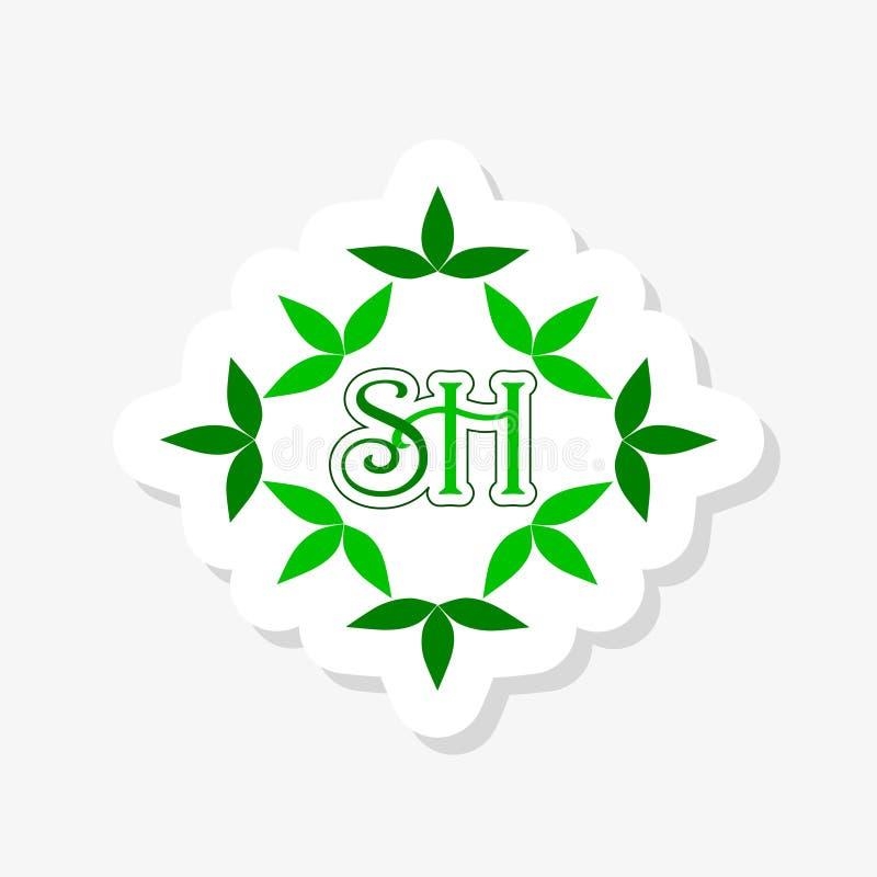 SH S H Initial Letter Logo Design Element. Logo Sticker Template stock illustration