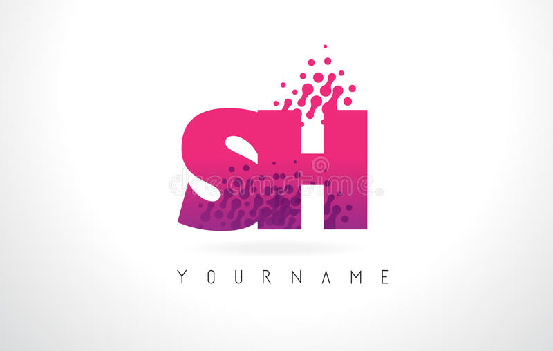 SH S H Letter Logo With Pink Purple Color And Particles ...