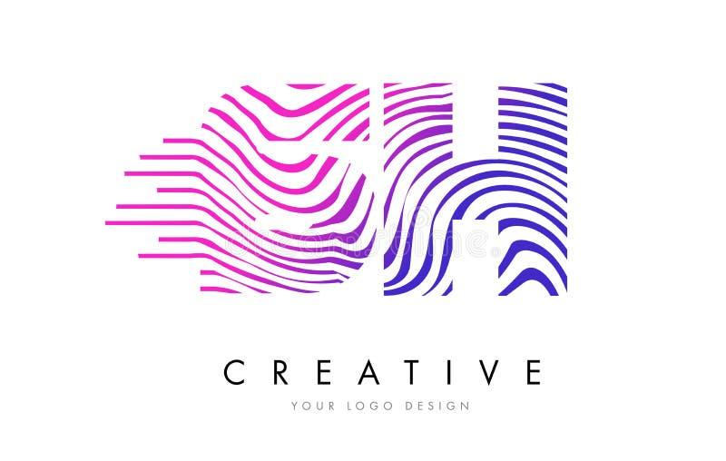 SH S H Zebra Lines Letter Logo Design with Magenta Colors. SH S H Zebra Letter Logo Design with Black and White Stripes Vector stock illustration