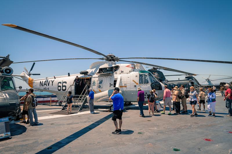 The SH-3 Sea King Navy Helicopter On board Uss Midway aircraft carrier museum at the San Diego Harbor California clear summer day. The USS midway is a retired stock image