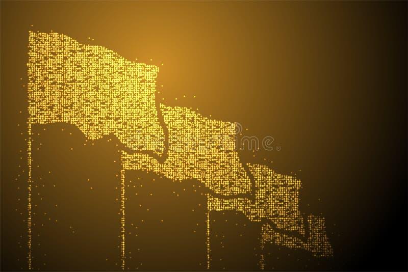 Sha geométrico abstracto del grupo de la bandera del modelo del pixel del punto del círculo de Bokeh stock de ilustración