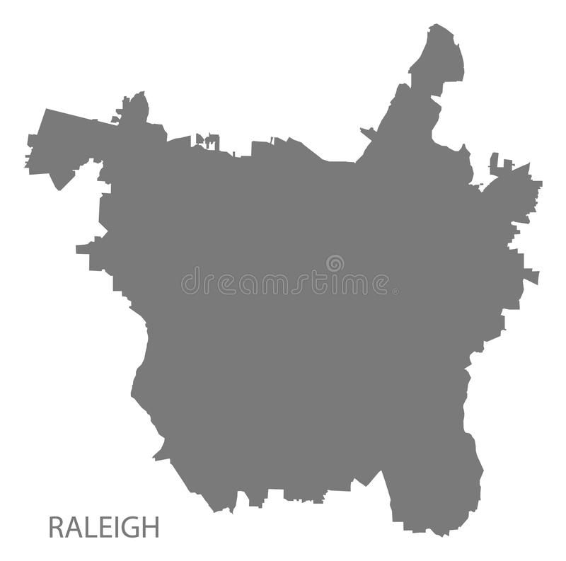 Sha gris de la silueta del ejemplo del mapa de la ciudad de Raleigh North Carolina stock de ilustración