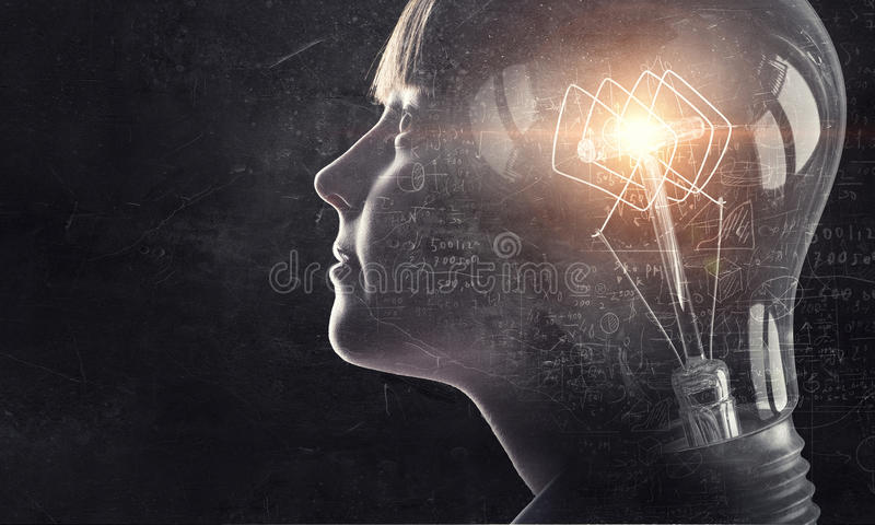 Sha has bright mind . Mixed media. Exposure image of school aged girl and glowing light bulb royalty free illustration