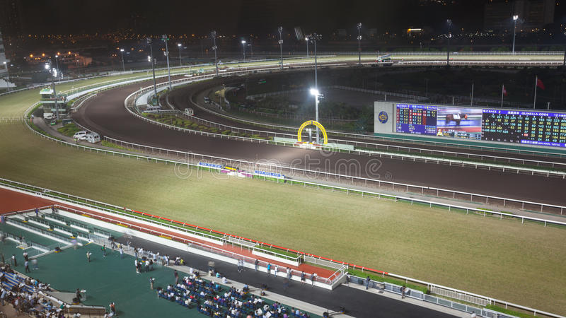 Sha Tin Racecourse at night