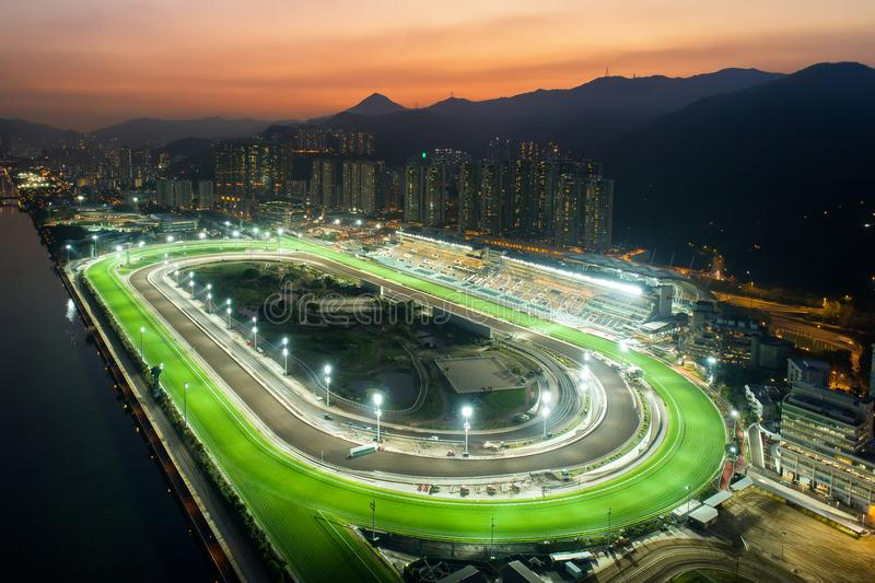 Sha Tin Racecourse night view. Sha Tin Racecourse is Hong Kong`s second racecourse. It is located in the eastern part of Fo Tan in the eastern part of the New royalty free stock photos