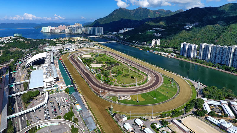Sha Tin Racecourse. Is one of the two racecourses for horse racing in Hong Kong. It is located in Sha Tin in the New Territories. It is managed by Hong Kong royalty free stock images