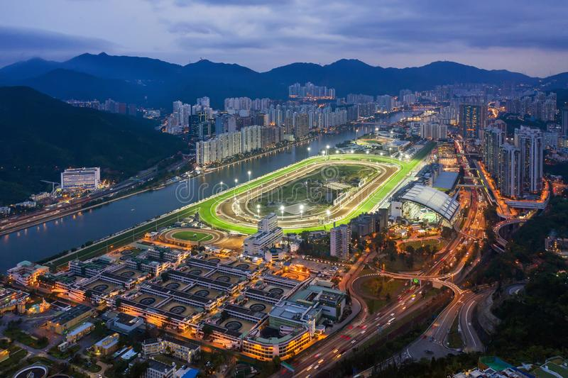 Sha Tin Racecourse and stables. Twilight scene of Sha Tin Racecourse and stables royalty free stock images