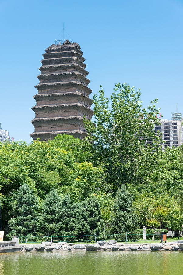 SHAANXI, CHINA - Jun 04 2015: Kleine Wilde Ganspagode (Unesco Wor royalty-vrije stock fotografie