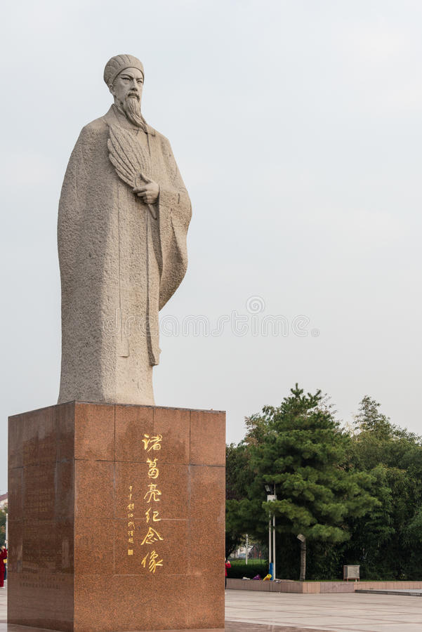 SHAANXI, CHINA - 4. NOVEMBER 2014: Statue von Zhuge Liang, Mianxian Cou lizenzfreies stockbild