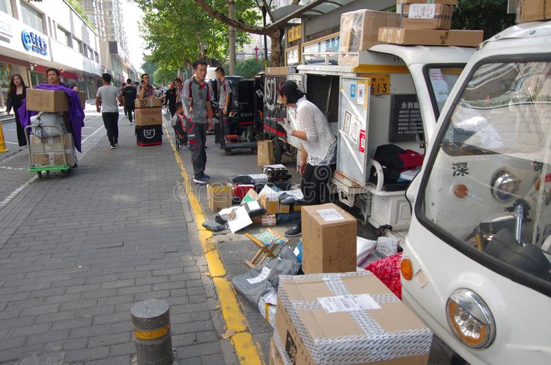 Shaanxi, xi `, koeriers stock foto