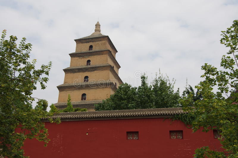 Shaanxi xi van China een 'wilde ganspagode, muziekfontein stock foto's