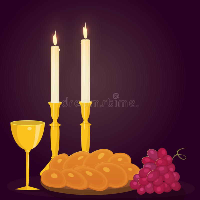 Shabbat candles, kiddush cup and challah. stock photo