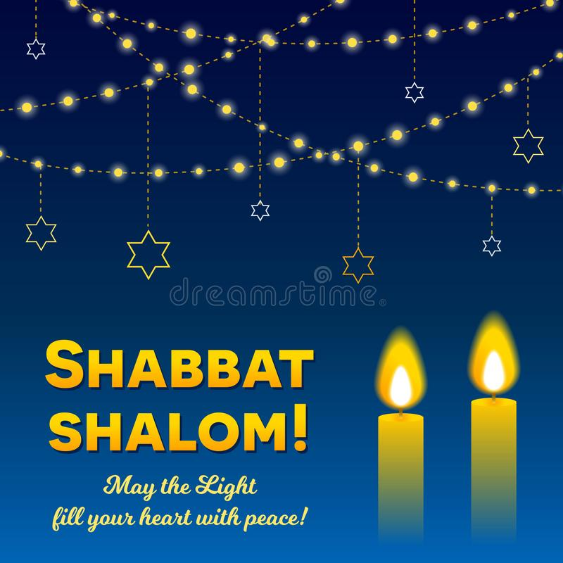 Shabbat shalom candles greeting card lettering and strings of lights in dark night sky royalty free illustration