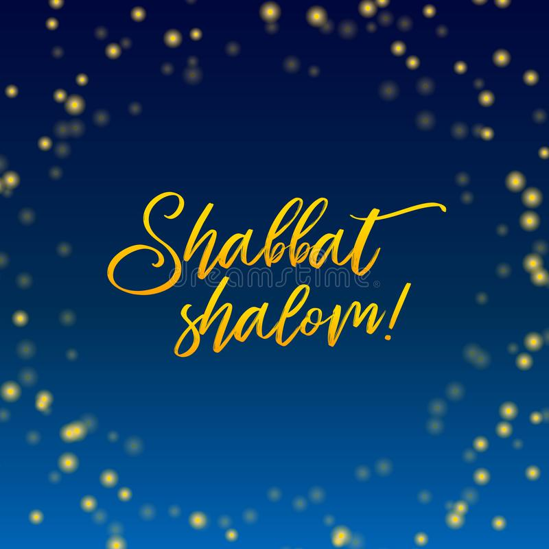 Shabbat shalom candles greeting card lettering, starry vector illustration