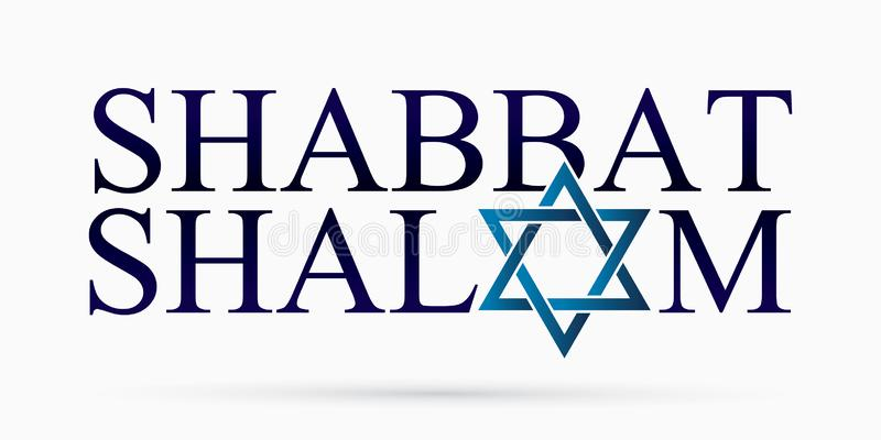 Shabbat Shalom text design Shabbat Shalom is a Hebrew word meaning to peace in God`s rest day. Graphic vector royalty free illustration