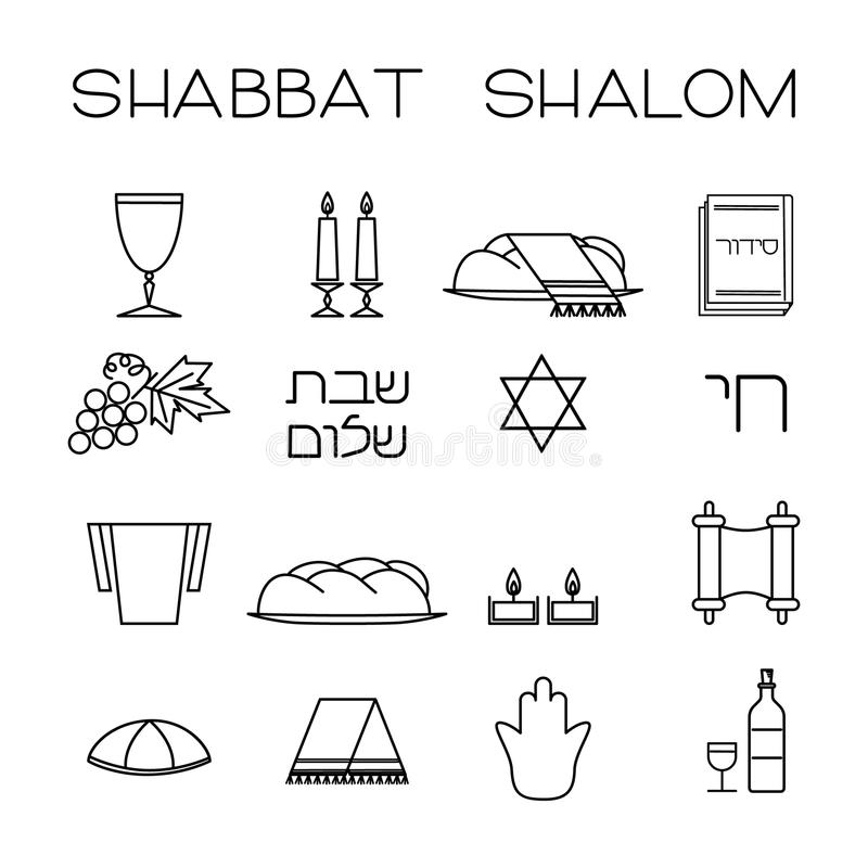 Shabbat symbols set. vector illustration