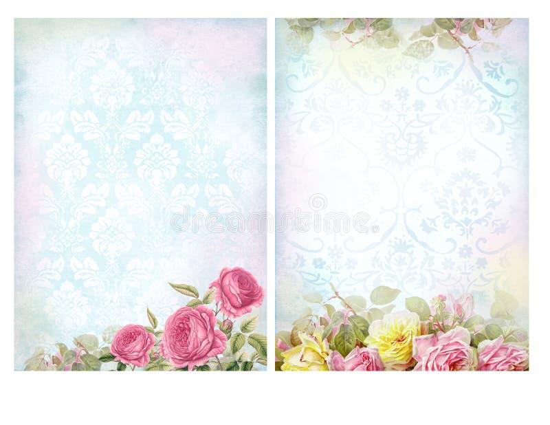 Shabby κομψά υπόβαθρα με τα τριαντάφυλλα διανυσματική απεικόνιση