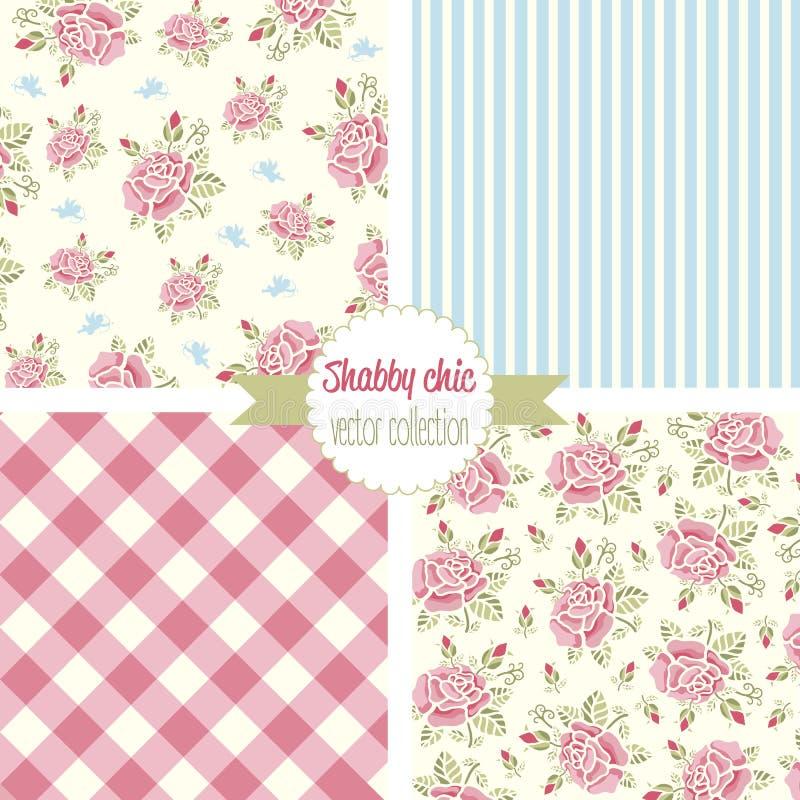Shabby κομψός αυξήθηκε σχέδια άνευ ραφής σύνολο προτύπων Εκλεκτής ποιότητας floral σχέδιο, υπόβαθρα διανυσματική απεικόνιση