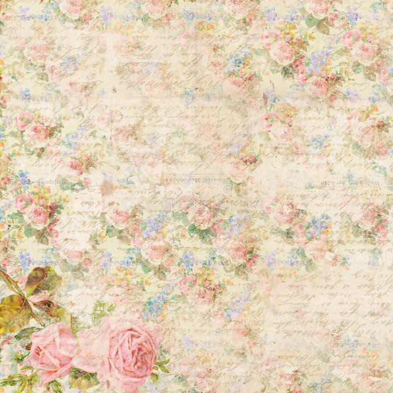 Shabby κομψό εκλεκτής ποιότητας υπόβαθρο λουλουδιών με το παλαιό χειρόγραφο γραφής διανυσματική απεικόνιση