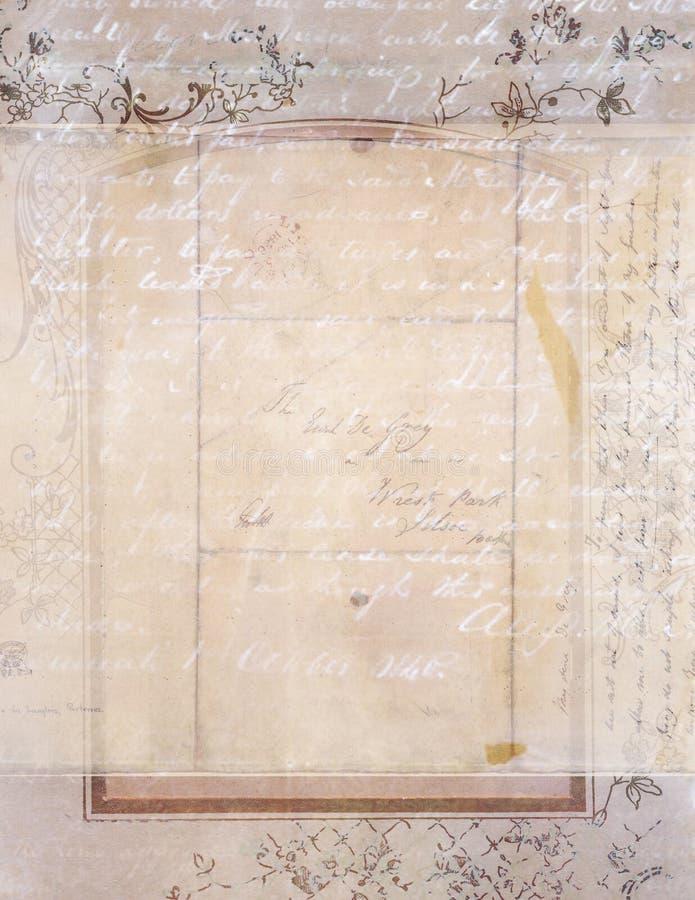 Shabby κομψό εκλεκτής ποιότητας floral υπόβαθρο με το χειρόγραφο στοκ φωτογραφία