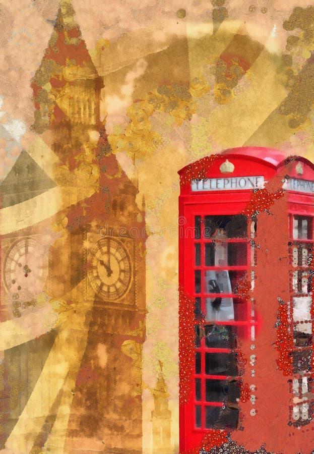 Shabby κομψό κολάζ του Λονδίνου απεικόνιση αποθεμάτων