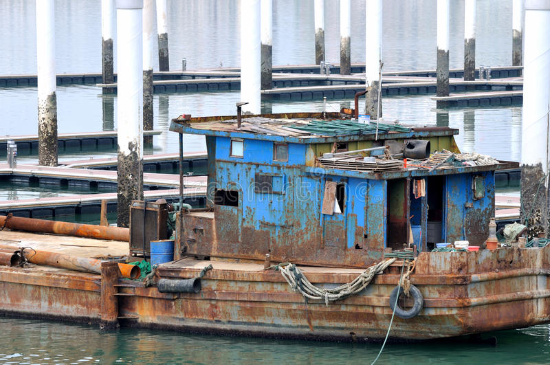 Download Shabby Boat Working At Dock Stock Image - Image: 28955527
