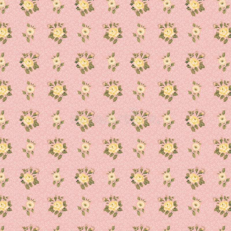Shabby chic antique wallpaper pink and yellow rose stock photos
