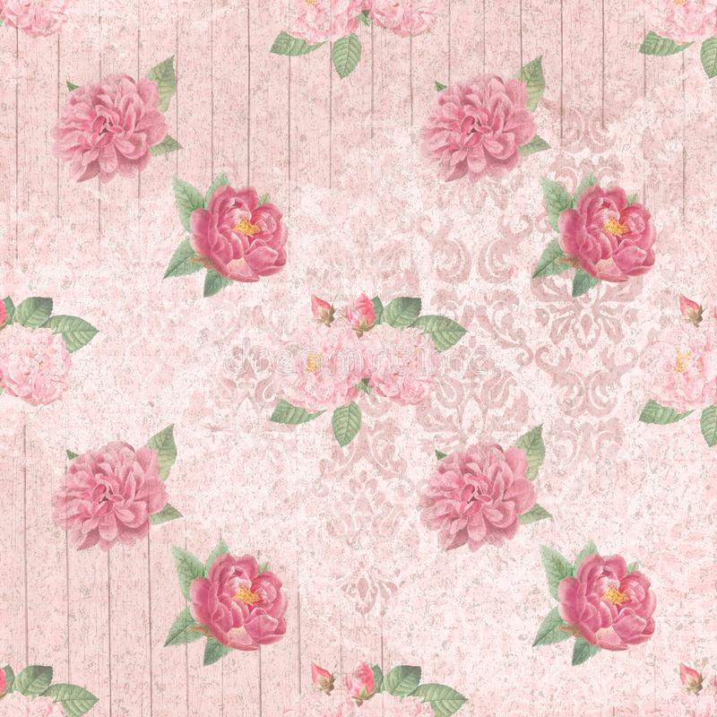 Shabby Chic Background Collage Paper - Pink Roses - Romantic - Feminine. Pink, feminine collage comprised of repeating pattern of vintage roses on a pink vector illustration