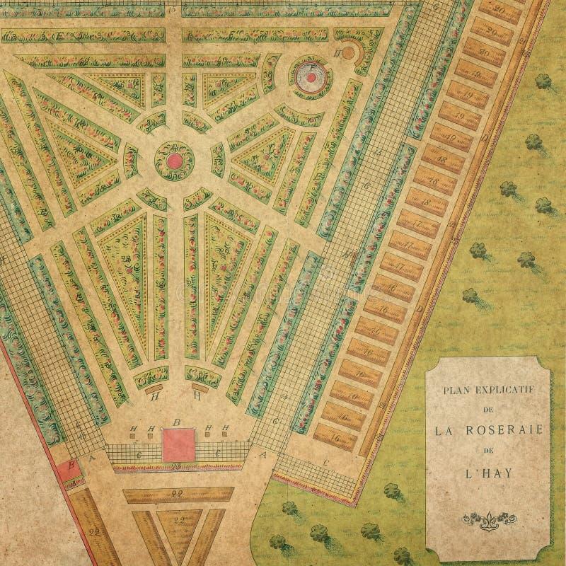 Shabby Chic Background Collage Paper - Vintage Garden Map - Rose Garden stock illustration
