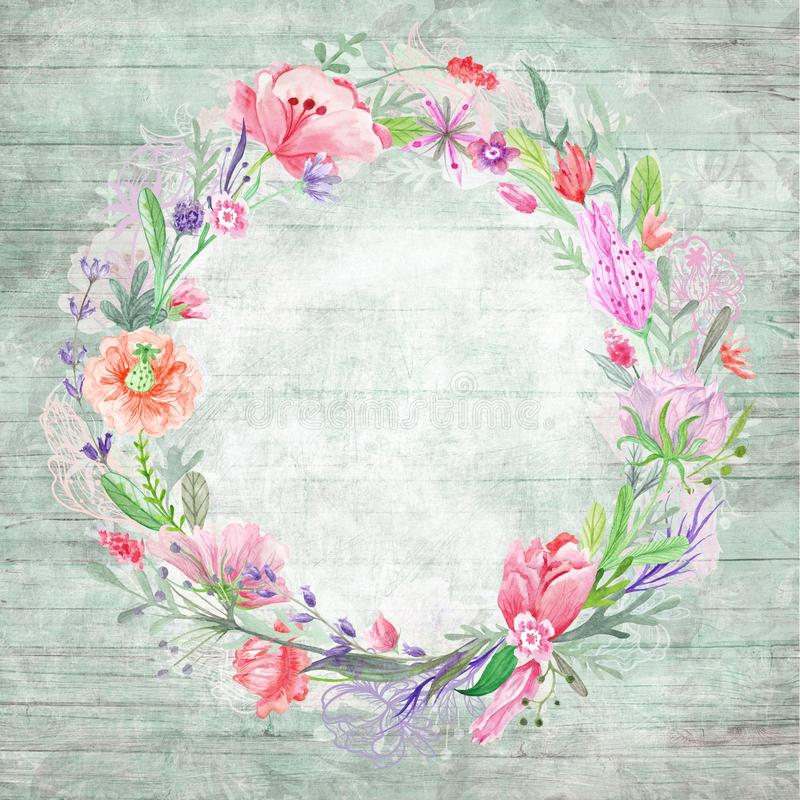 Download Shabby Chic Background With Floral Wreath Stock Photo
