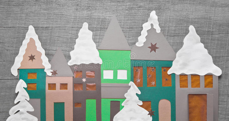 Shabby chic - christmas decoration handmade with paper. Idea for timber - greeting card royalty free stock photography