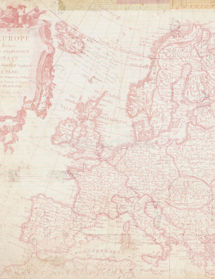 Shabby Chic map of Europe in Pink royalty free stock image
