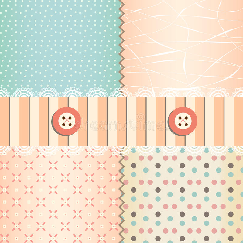 Shabby chic. Pastel patterns and seamless backgrounds. Ideal for printing onto fabric and paper or scrap booking royalty free illustration