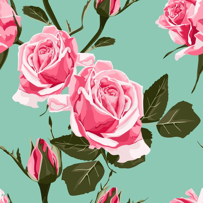 Seamless vector design pattern arranged from pink roses. Shabby chic pink roses, vintage seamless pattern, classic chintz floral repeat background for web and vector illustration