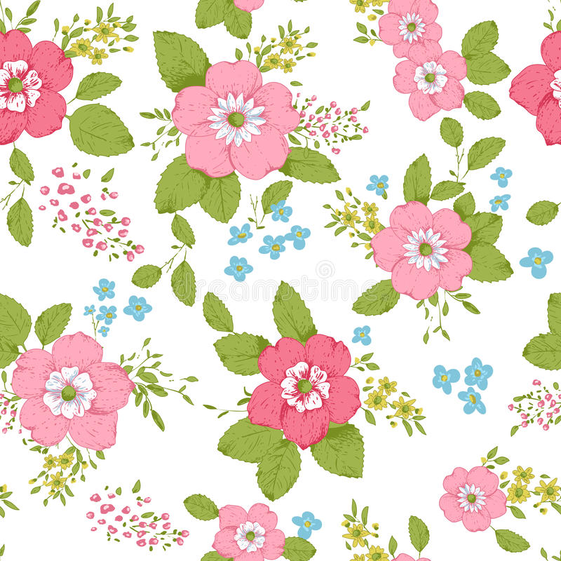 Shabby chic rose background stock illustration