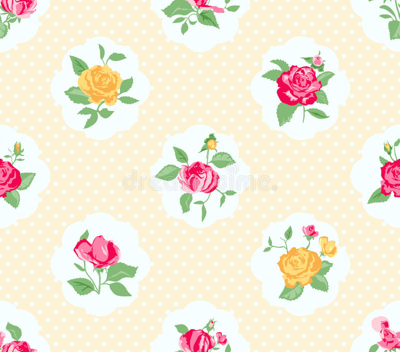 Shabby chic rose background vector illustration