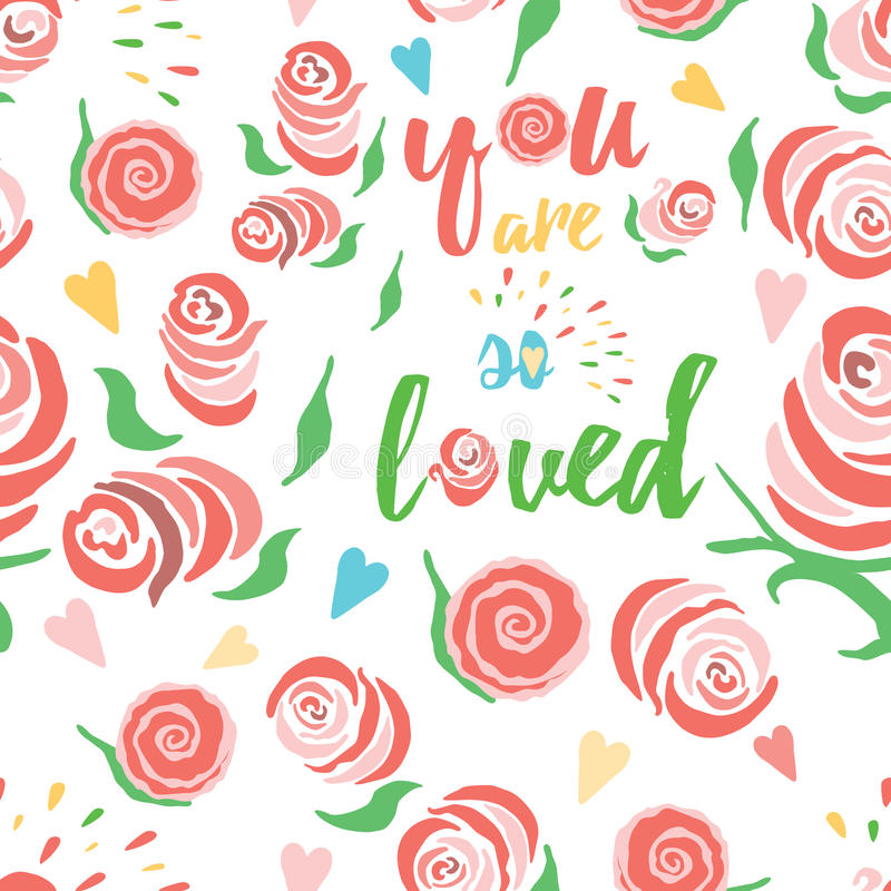 Shabby chic rose pattern collection with inspirational quote. Seamless floral background. stock illustration
