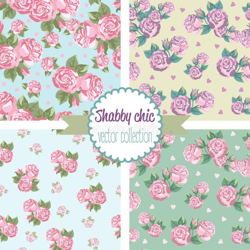 Shabby Chic Rose Patterns. Set seamless pattern. vector illustration