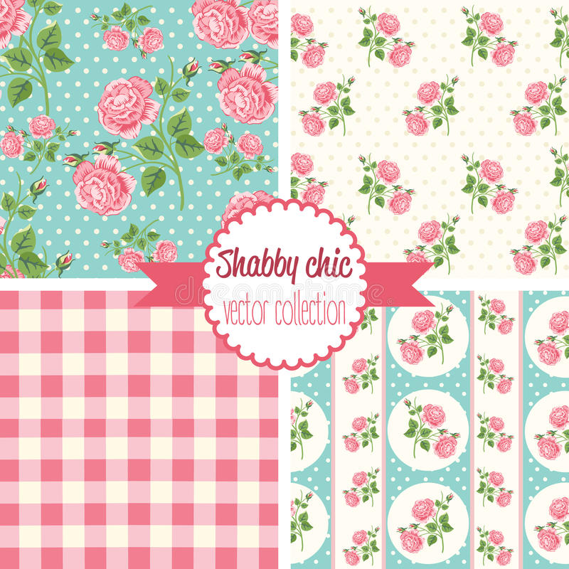 Shabby Chic Rose Patterns. Set seamless pattern. Vintage floral pattern, backgrounds. stock illustration