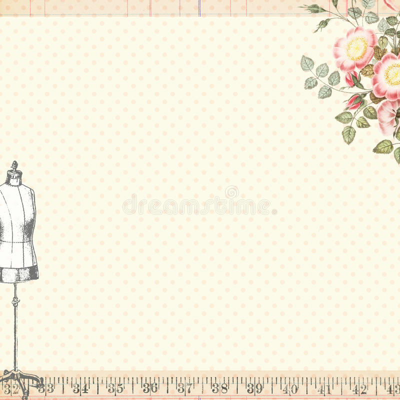 Shabby Chic Sewing Craft Background with Body Form. Shabby Chic Sewing Background with Body Form mannequin and roses. Blank writing space royalty free illustration